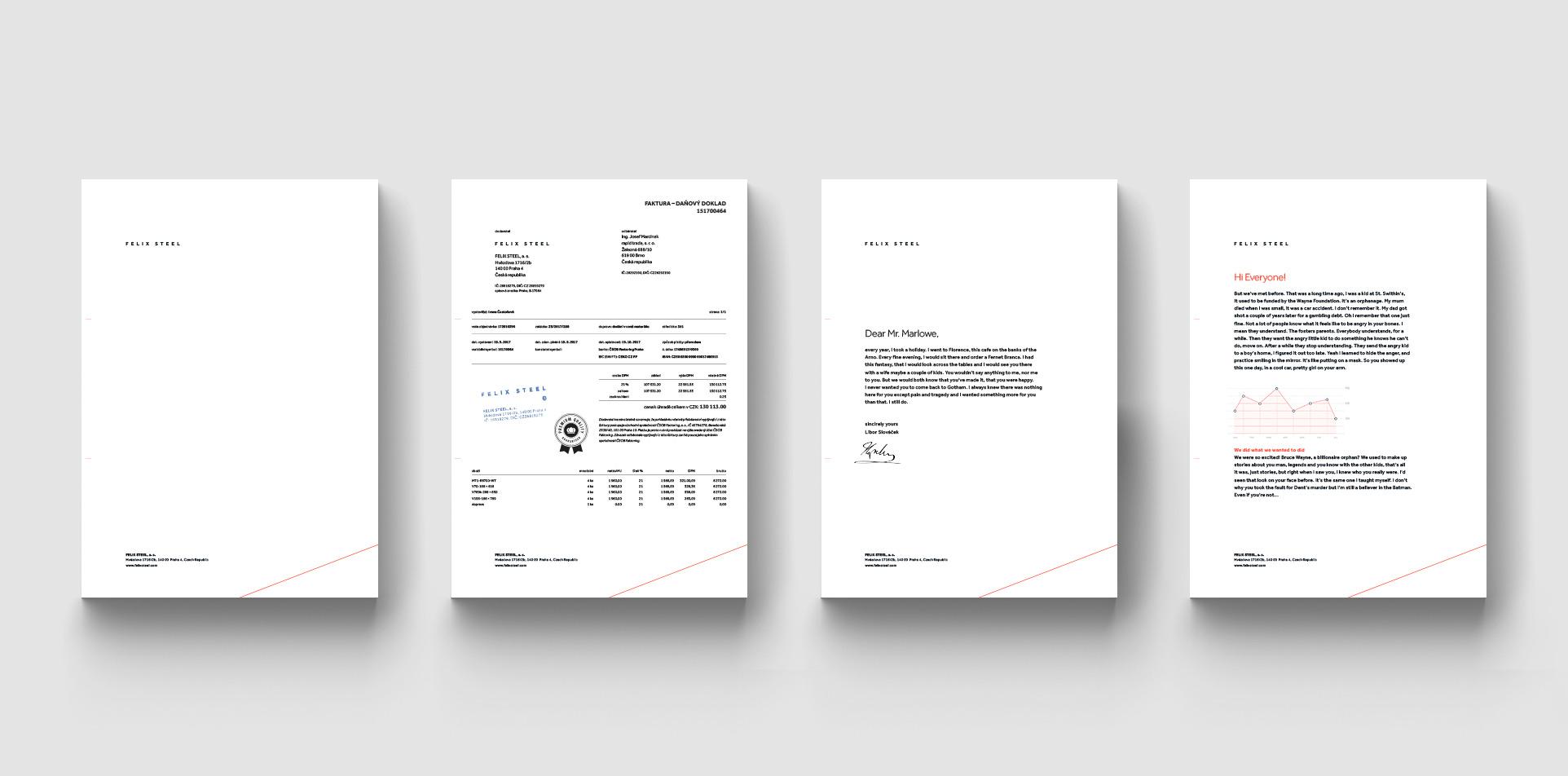 Felix Steel letterheads